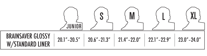 Triple 8 Brainsaver Helmet sizing chart