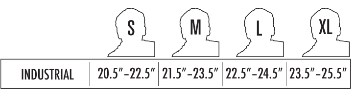 Industrial Helmet sizing chart