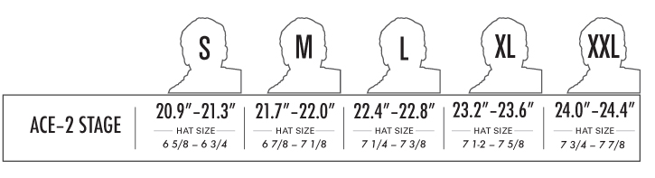 PRO-TEC Ace Skate 2-Stage Foam Liners for Helmets sizing chart