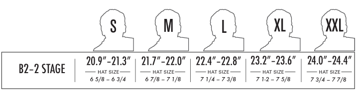 PRO-TEC B2 Skate 2-Stage Foam Liners for Helmets sizing chart