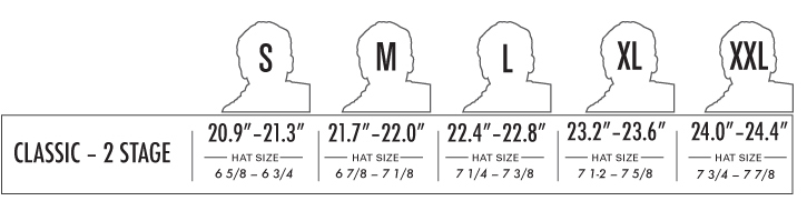 PRO-TEC Classic Skate 2-Stage Liner Helmet sizing chart