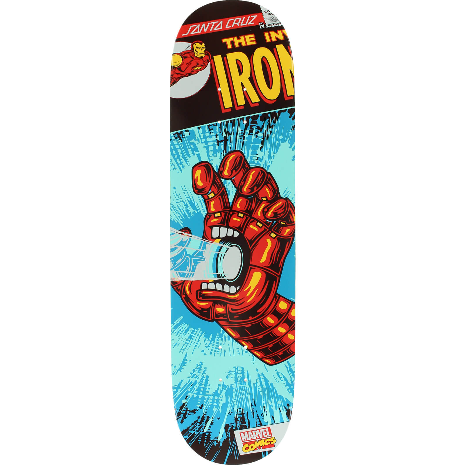 Santa Cruz Skateboards Marvel Iron Man Hand Skateboard