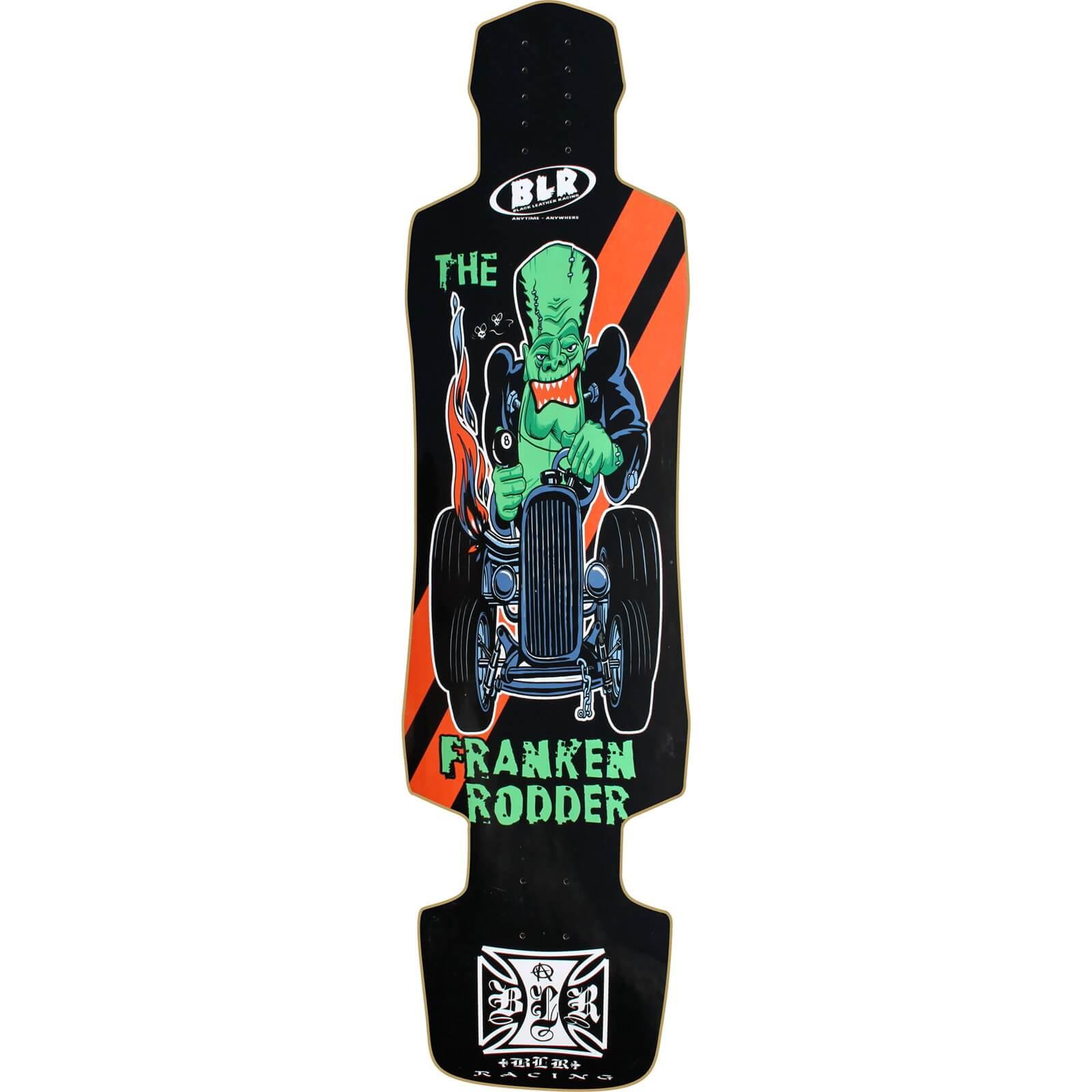 Black Leather Racing Franken Rodder Downhill Longboard Skateboard Deck