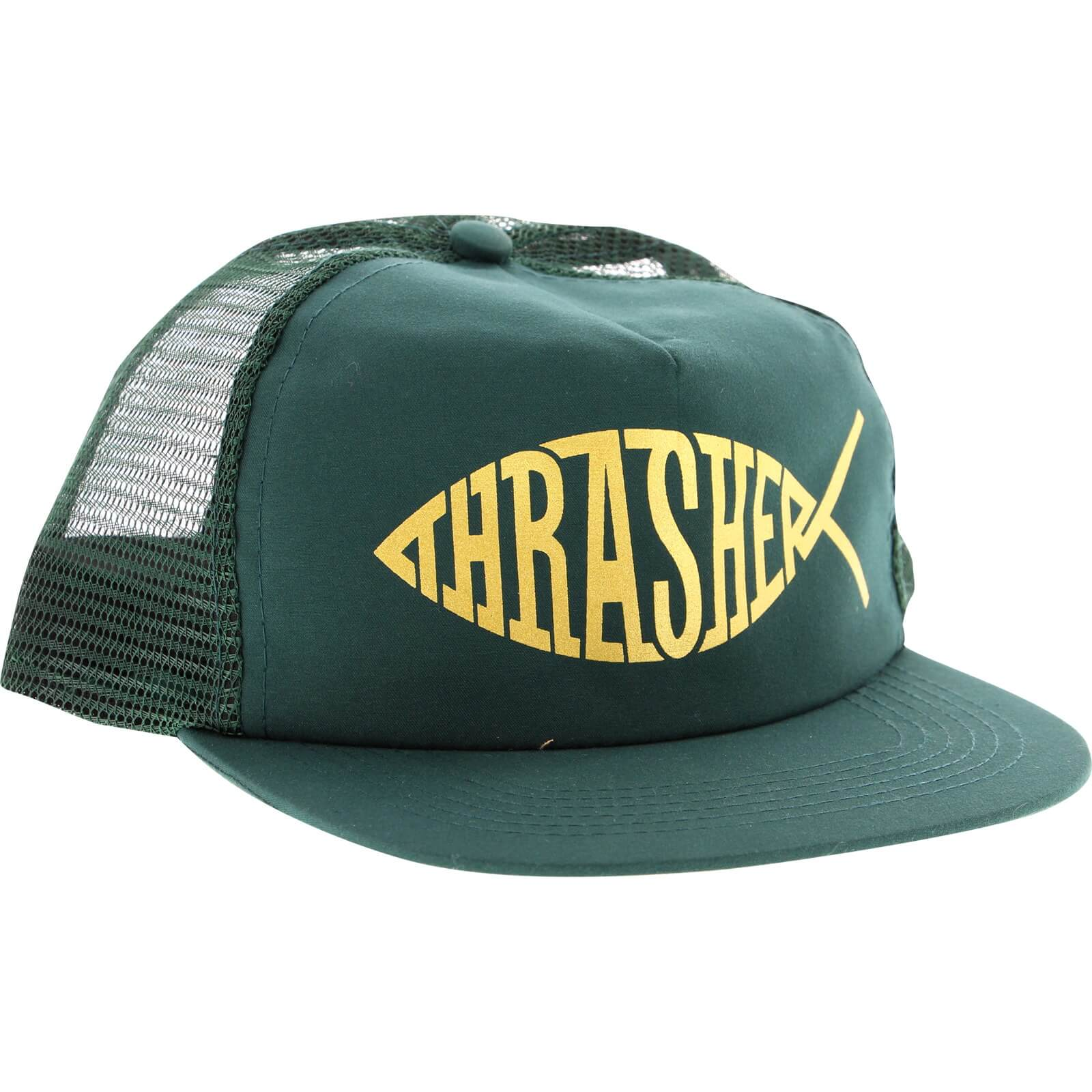 Thrasher magazine fish green gold adjustable mesh hat for High hat fish