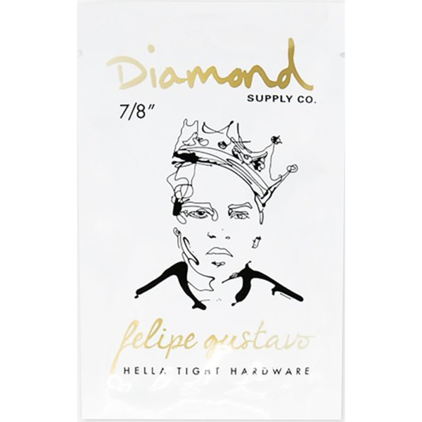 "Diamond Supply Co Felipe Gustavo Allen Head Black / Gold Skateboard Hardware Set - 7/8"""