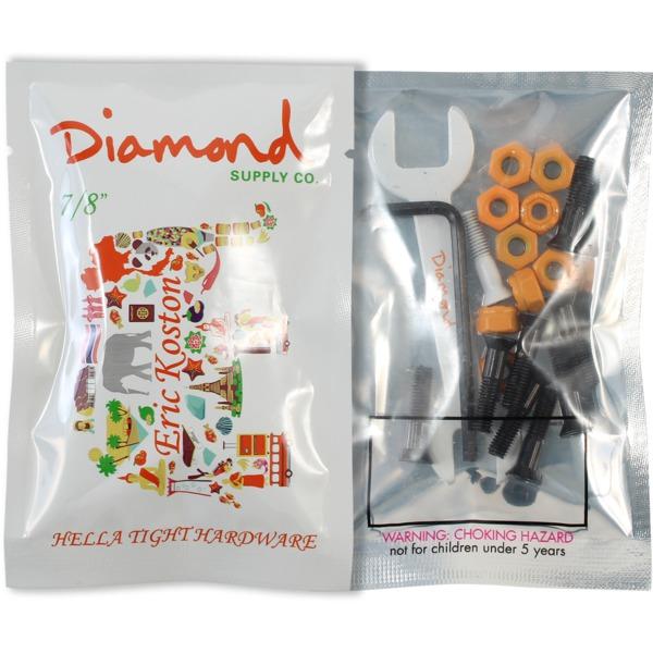 "Diamond Supply Co Eric Koston Allen Head Black / Orange Skateboard Hardware Set - 7/8"""