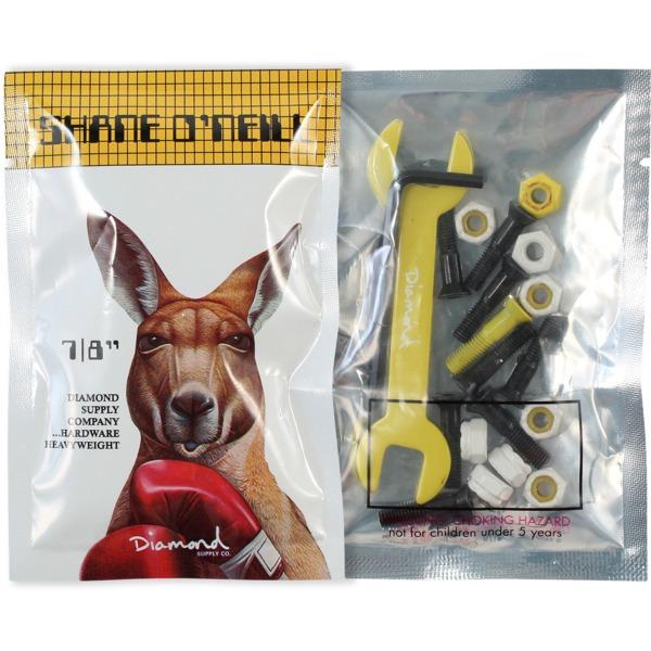 "Diamond Supply Co Shane O'Neill Allen Head Black / Yellow Skateboard Hardware Set - 7/8"""