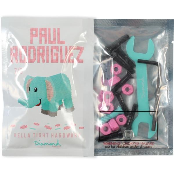 "Diamond Supply Co Paul Rodriguez Allen Head Black / White Skateboard Hardware Set - 7/8"""