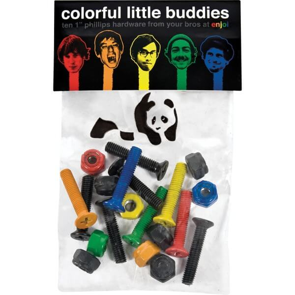 Enjoi Skateboards Little Buddies Phillips Assorted Colors Skateboard Hardware Set - 7/8""