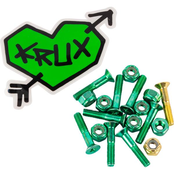 """Krux Trucks Krome Phillips Head 7 Green / 1 Gold Skateboard Hardware Set - 1"""""""