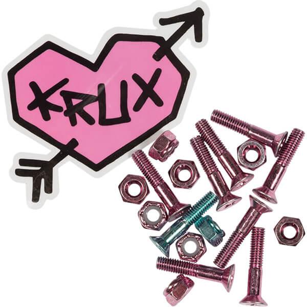 "Krux Trucks Krome Phillips Head 7 Pink / 1 Blue Skateboard Hardware Set - 1"""