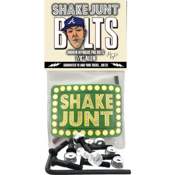 "Shake Junt Andrew Reynolds Pro Allen Head Black / Silver Skateboard Hardware Set - 7/8"""