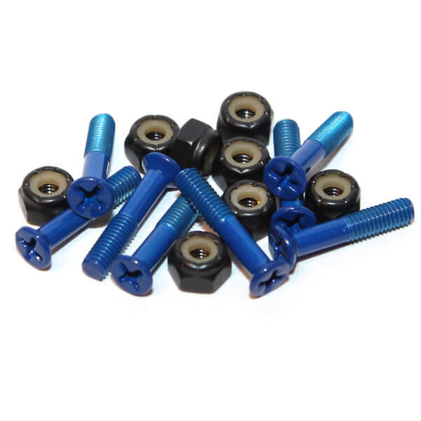 Standard Phillips Head Devil Blue Skateboard Hardware Set - 1""