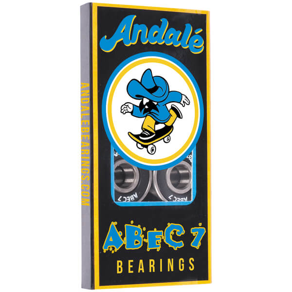 Andale Bearings 8mm ABEC 7 Black Skateboard Bearings