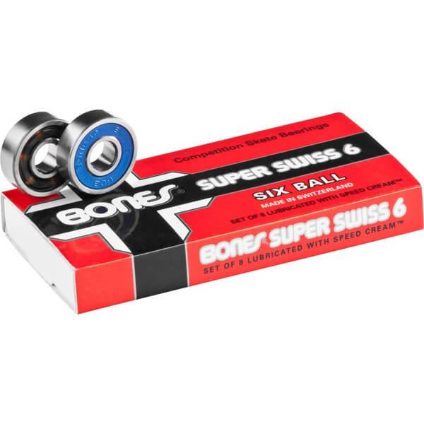 Bones Bearings - 8mm Bones Super Swiss 6 Swiss Skateboard Bearings (8) Pack