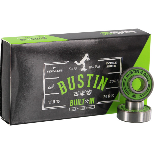 Bustin Skateboards 6-Ball Built-In Green Skateboard Bearings