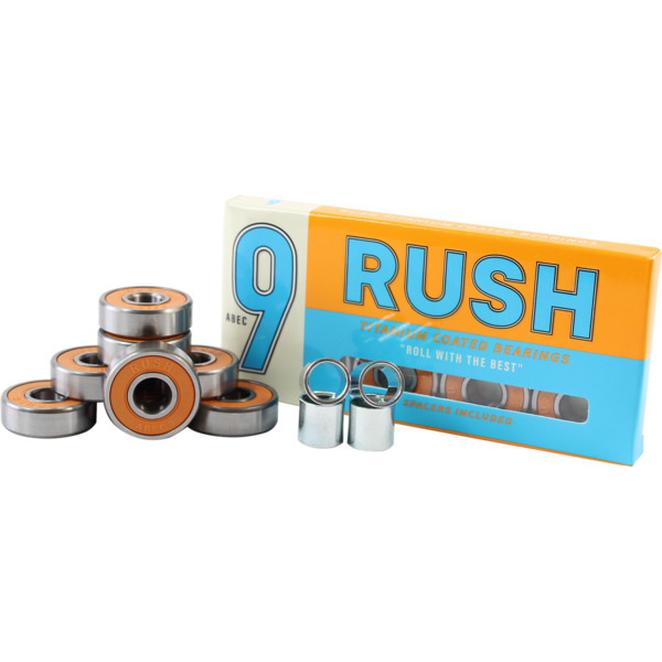 Rush 8mm ABEC 9 Skateboard Bearings - includes spacers