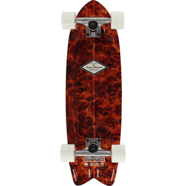 "Aluminati Skateboards Burl Wood Fish Cruiser Complete Skateboard - 8.12"" x 28"""