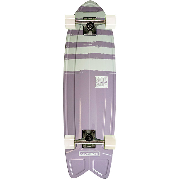"Aluminati Skateboards Summer Surf Fish Stripes Cruiser Complete Skateboard - 8.12"" x 28"""