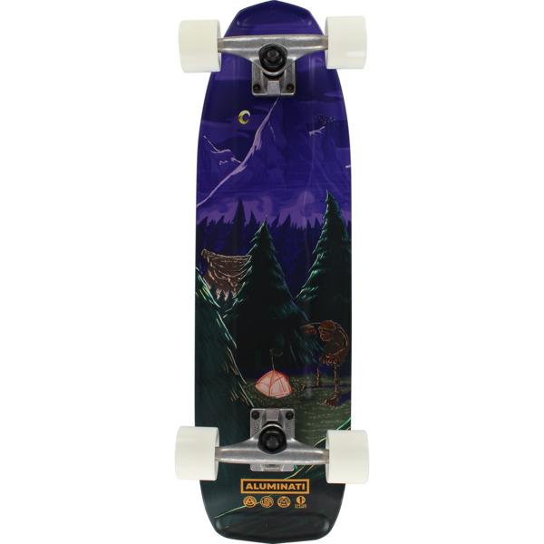 "Aluminati Skateboards The Grove HF2 Higgs Purple / Green Cruiser Complete Skateboard - 8.125"" x 28"""