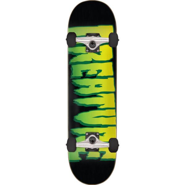 "Creature Skateboards Logo Black / Green Mid Complete Skateboards - 7.5"" x 30.6"""