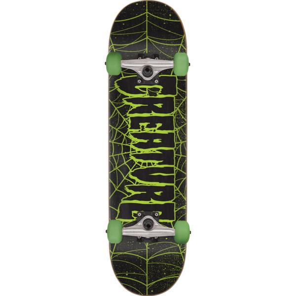 "Creature Skateboards Logo Web Black / Green Mini Complete Skateboard - 7.25"" x 29.9"""