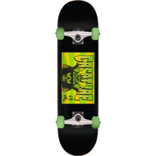"Creature Skateboards Soul Servant Black / Green Mid Complete Skateboards - 7.5"" x 30.6"""