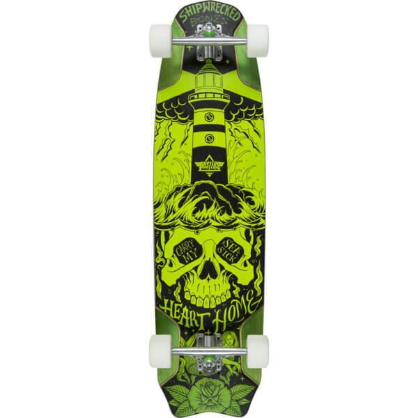 """Dusters California Skateboards Bones Green Longboard Complete Skateboard - 9.5"""" x 37.9"""""""