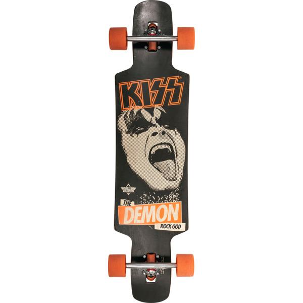 "Dusters California Skateboards Kiss LB Black / Orange Longboard Complete Skateboard - 9.5"" x 38.5"""