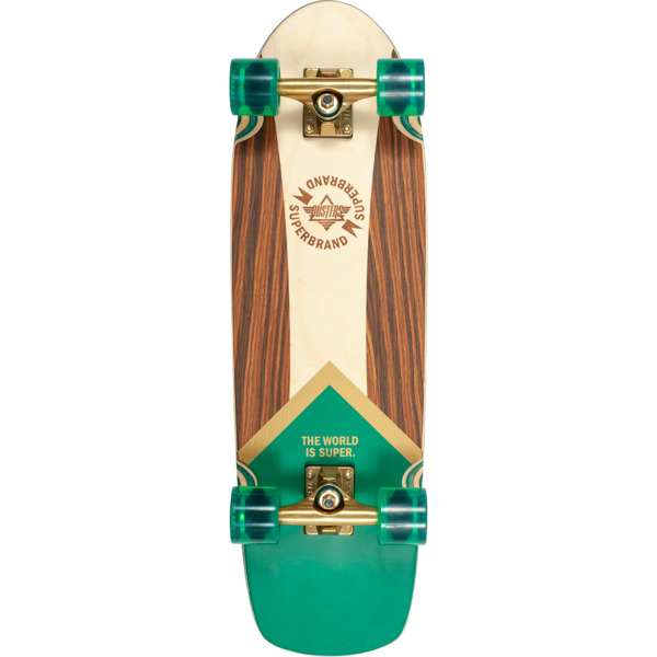 "Dusters California Skateboards Superbrand Retro Green / Gold Complete Skateboard - 8.75"" x 29.5"""