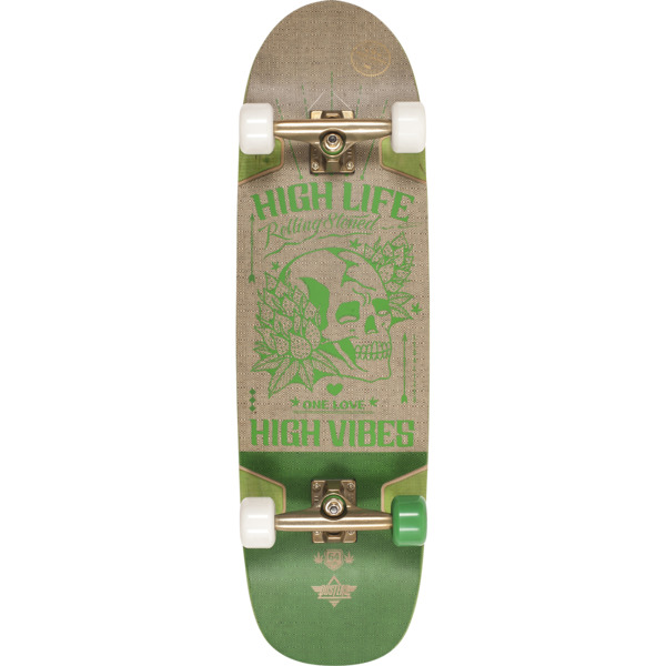 """Dusters California Skateboards Vibes Hemp / Green Longboard Complete Skateboard - 9.37"""" x 33"""""""