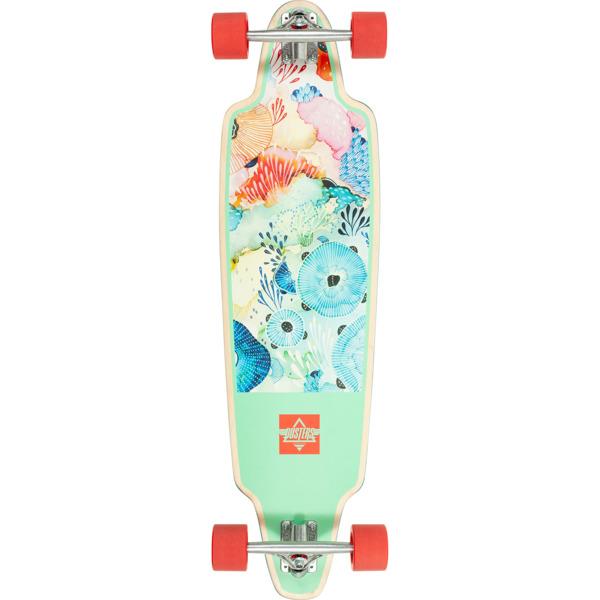"""Dusters California Skateboards Yellena Mint / Red Longboard Complete Skateboard - 10.25"""" x 38"""""""