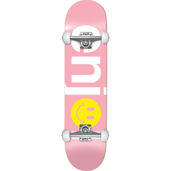 """Enjoi Skateboards No Brainer Smiley Pink Mid Complete Skateboards - 7.5"""" x 31.1"""""""