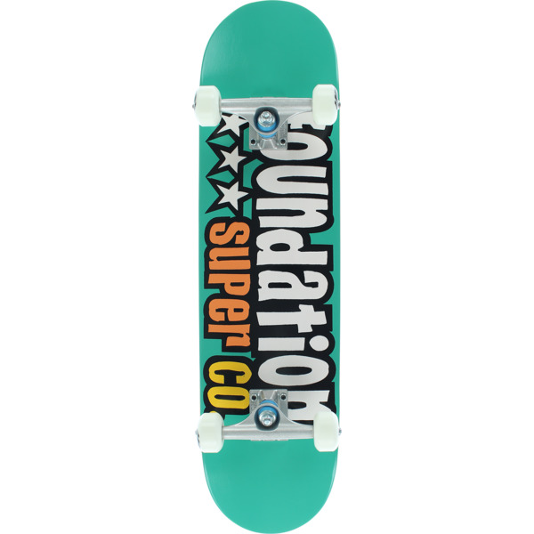 "Foundation Skateboards 3 Star Teal Complete Skateboard - 7.88"" x 32"""