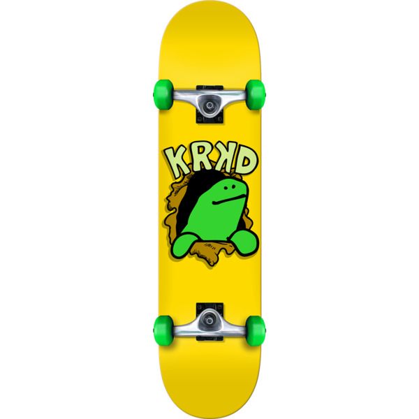 "Krooked Skateboards Shmoo Face First Yellow Mid Complete Skateboards - 7.5"" x 31.12"""