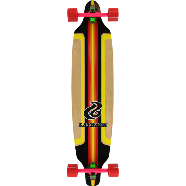 "Layback Longboards Finish Line Red Longboard Complete Skateboard - 9.12"" x 41"""