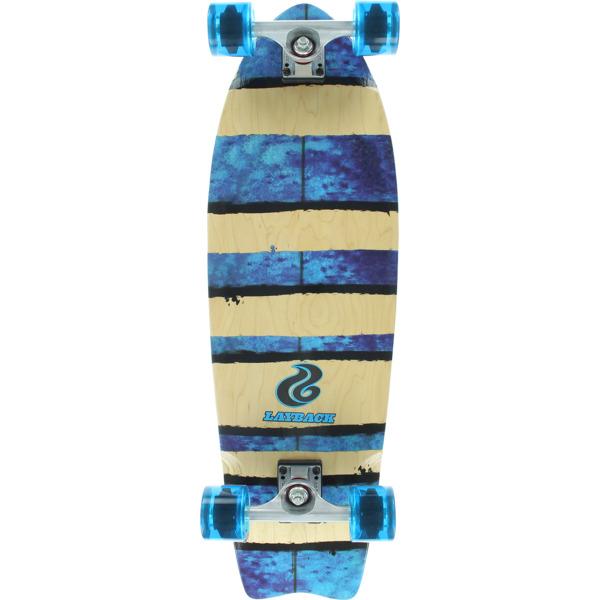 """Layback Longboards Rip & Tear Natural / Blue Longboard Complete Skateboard - 9.75"""" x 31.5"""""""