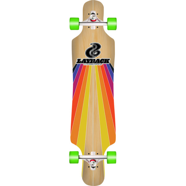 "Layback Longboards Bamboo Sunstripe Drop-Through Longboard Complete Skateboard - 9.75"" x 40"""