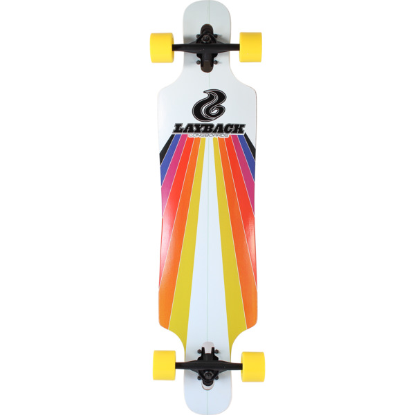 "Layback Longboards Sunstripe Drop-Through White Longboard Complete Skateboard - 9.75"" x 40"""