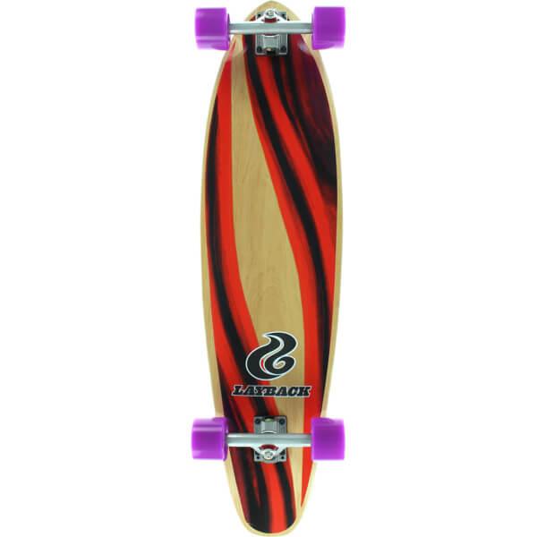 """Layback Longboards Yin Yang Kicktail Longboard Complete Skateboard - 9.75"""" x 38"""""""