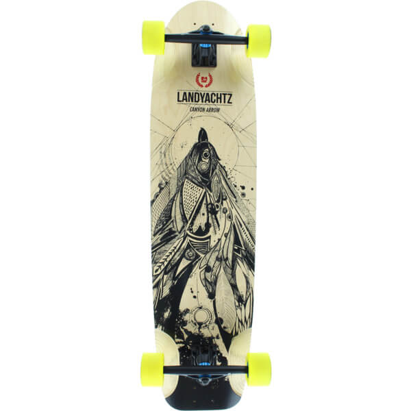 "Landyachtz Canyon Arrow Bird Natural / Black Longboard Complete Skateboard - 9.5"" x 37"""