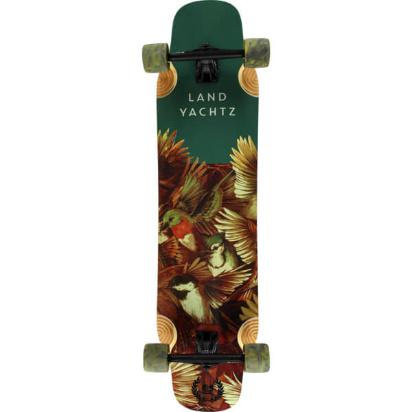 "Landyachtz Fiberglass Hatchet Birds Green Longboard Complete Skateboard - 9.3"" x 40.35"""