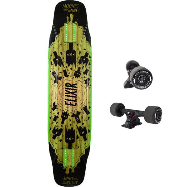 "Moonshine MFG 2019 Elixer Black / Green Longboard Complete Skateboard - 9.5"" x 40.5"""
