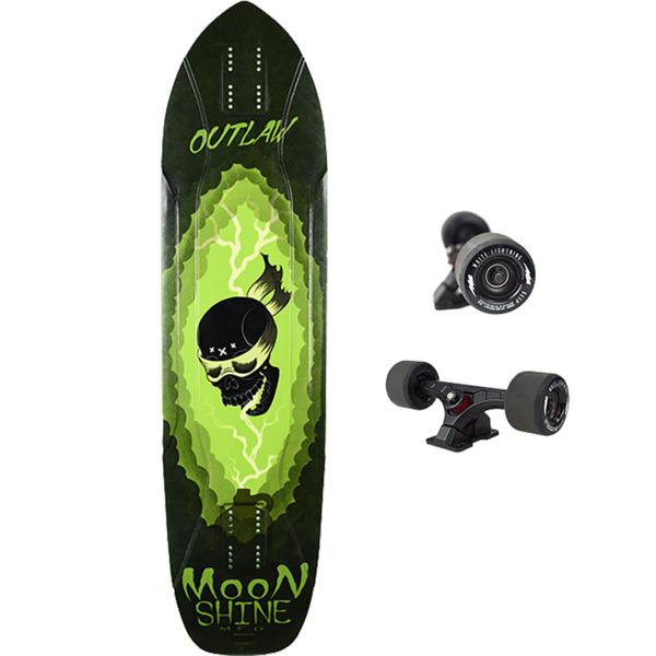 "Moonshine MFG 2019 Outlaw White / Green Longboard Complete Skateboard - 9.75"" x 38.25"""