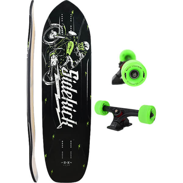 "Moonshine MFG 2018 Sidekick Black / Green Longboard Complete Skateboard - 9.3"" x 35"""
