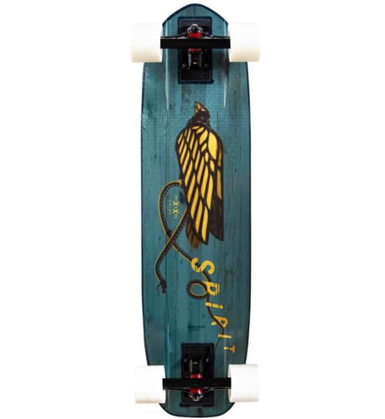 "Moonshine MFG Spirit Teal / Yellow Cruiser Complete Skateboard - 9"" x 34"""
