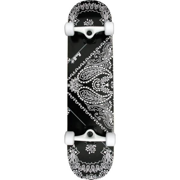 "Punked Skateboards Bandana Black Complete Skateboard - 7.75"" x 32"""