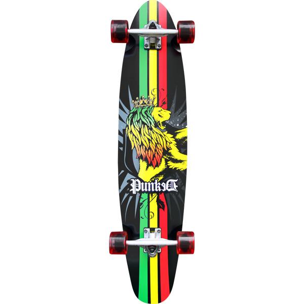 """Punked Skateboards Kicktail Rasta Lion Longboard Complete Skateboard - 9.75"""" x 40"""""""