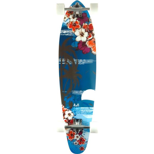 "Punked Skateboards Kicktail Tropical Night Longboard Complete Skateboard - 10"" x 40"""
