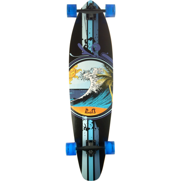 "Punked Skateboards Kicktail Wave Longboard Complete Skateboard - 10"" x 40"""